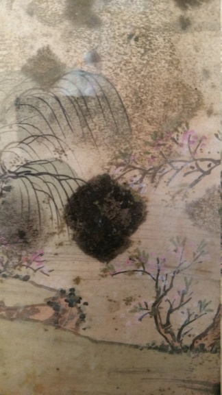 peinture sur soie avec taches de moisissure 20191257