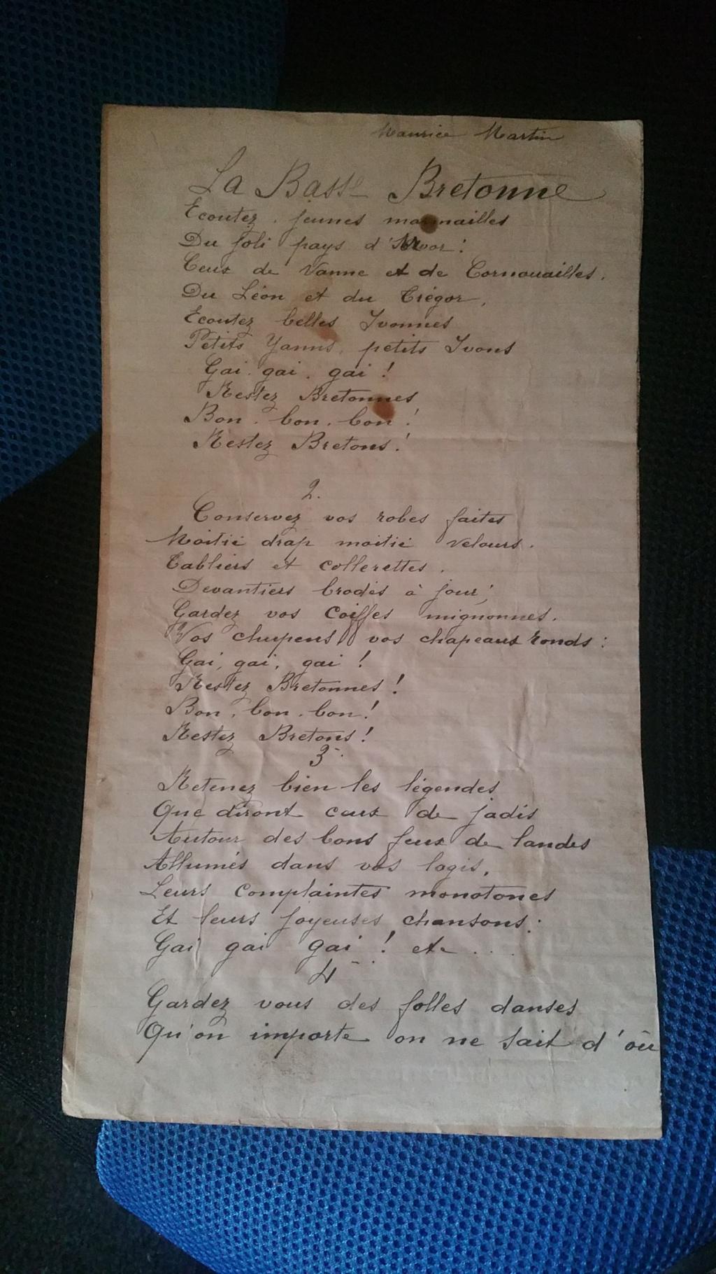 manuscrit chant ou poésie de Maurice Martin 20200142