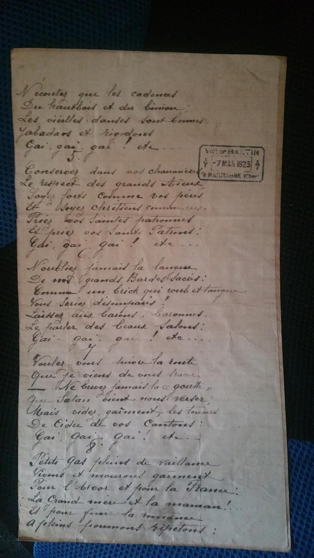 manuscrit chant ou poésie de Maurice Martin 20200144