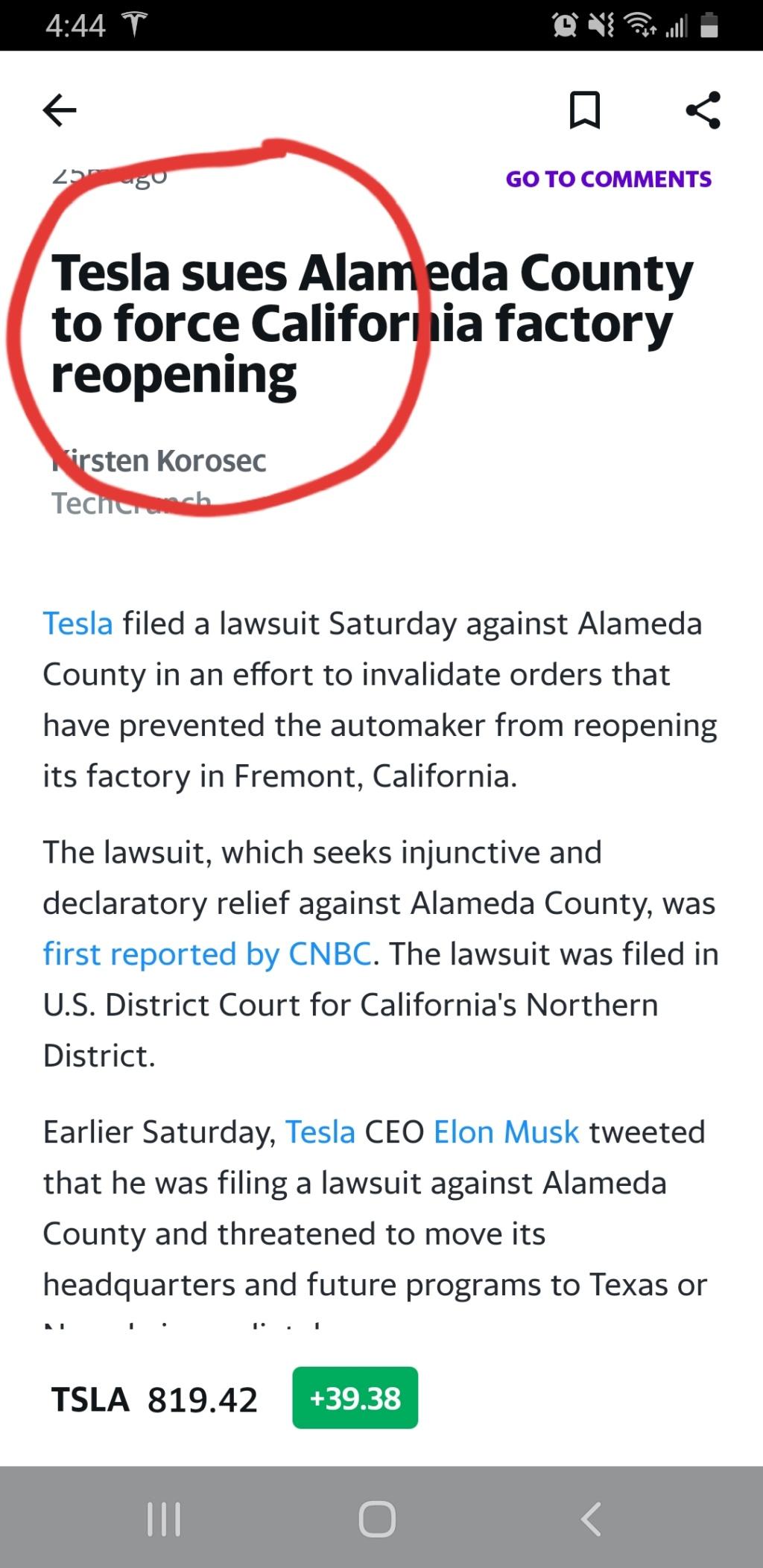 Tesla sues county  20200513