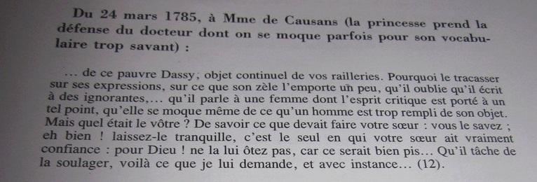 Une idylle amoureuse entre le docteur Dassy et Madame Elisabeth ?  1493