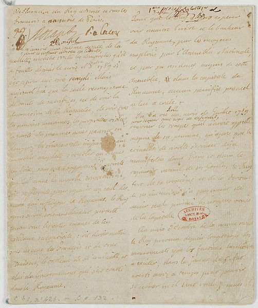 Déclaration de Louis XVI à tous les Français à sa sortie de Paris 20 juin 1791 542