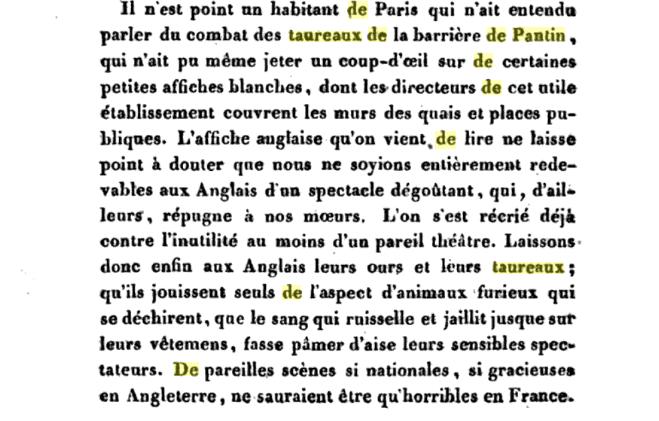 Des combats de taureaux à Paris, fin XVIIIème Captu478
