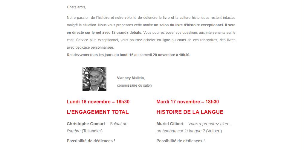 Novembre 2020,  13ème édition du Salon du Livre d'Histoire de Versailles Captu861