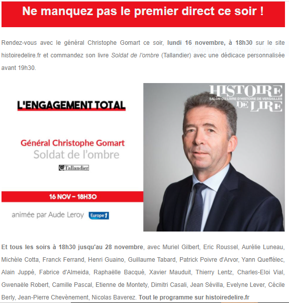 Novembre 2020,  13ème édition du Salon du Livre d'Histoire de Versailles Captu874