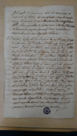 Lettre de la marquise de Bombelles à Madame Royale Dsc_1510