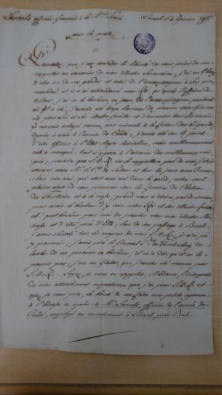 Lettre de Laroche, officier français émigré,  à Madame de Soucy Dsc_1511