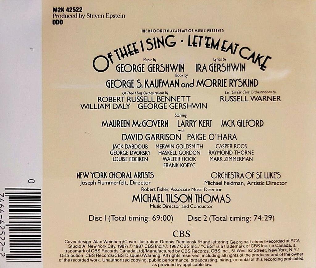 """Une comédie musicale de George Gershwin,    """"  Let 'Em Eat Cake !  """" S-l16010"""