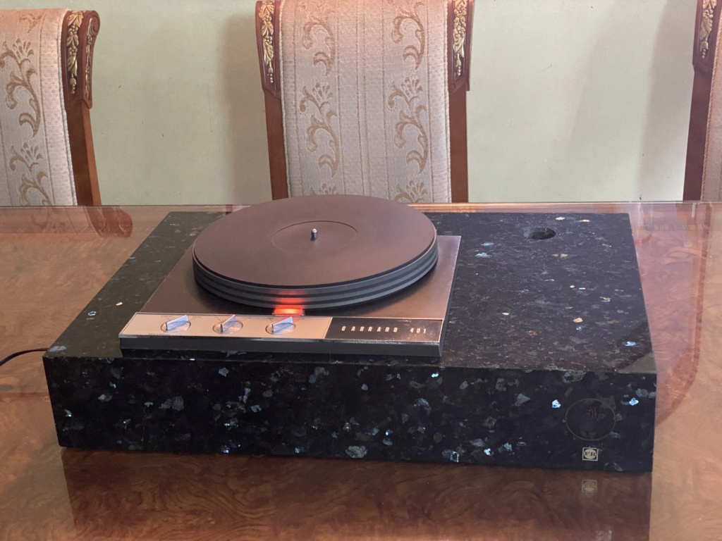 GARRARD 401 TT w/ expensive emerald stone base  Cc3a2f10