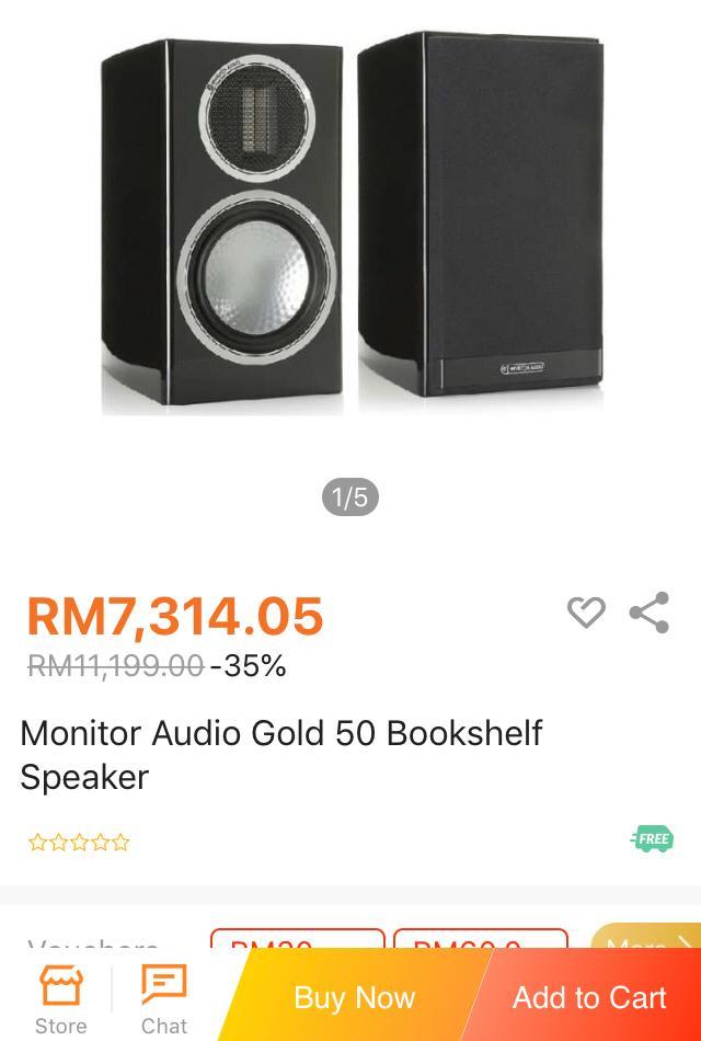 Monitor Audio Gold 50  DARK wall nut B/shelf speakers M114