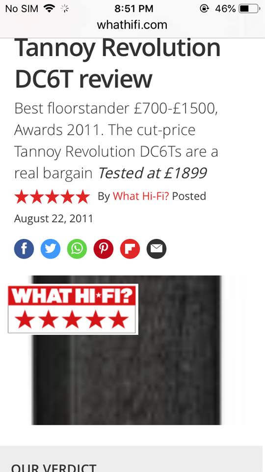 Tannoy Revolution DC6T dual-concentric full range SOLD T312