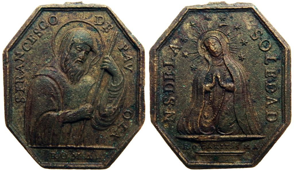 Medalla Octogonal san Francisco de Paula - Virgen Soledad (R.M. SXVIII-P120) 1610