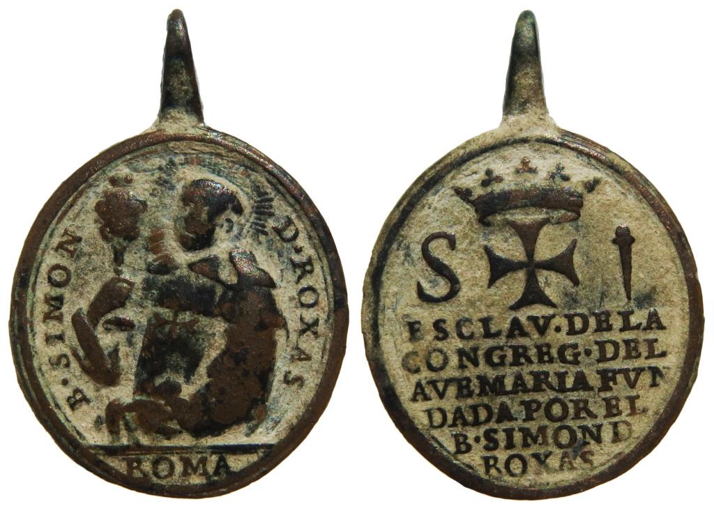 Beato Simón de Rojas / Emblema de los Esclavos de la Congregación del Ave María - S. XVIII 36-27x10