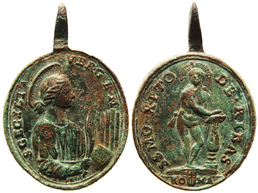 Medalla Santa Cecilia / Cristo de Rivas  S. XVIII (R.M. SXVIII-O132) 7_46_312