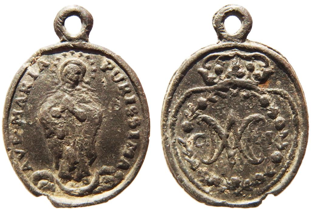 Inmaculada Concepción / Monograma coronado de la Virgen María - s. XVII Pb300010
