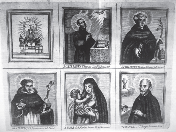 San Francisco de Borja, San Cayetano de Thiene y San Felipe Benicio / San Luis Beltrán y Santa Rosa de Lima - 1671 Santos10