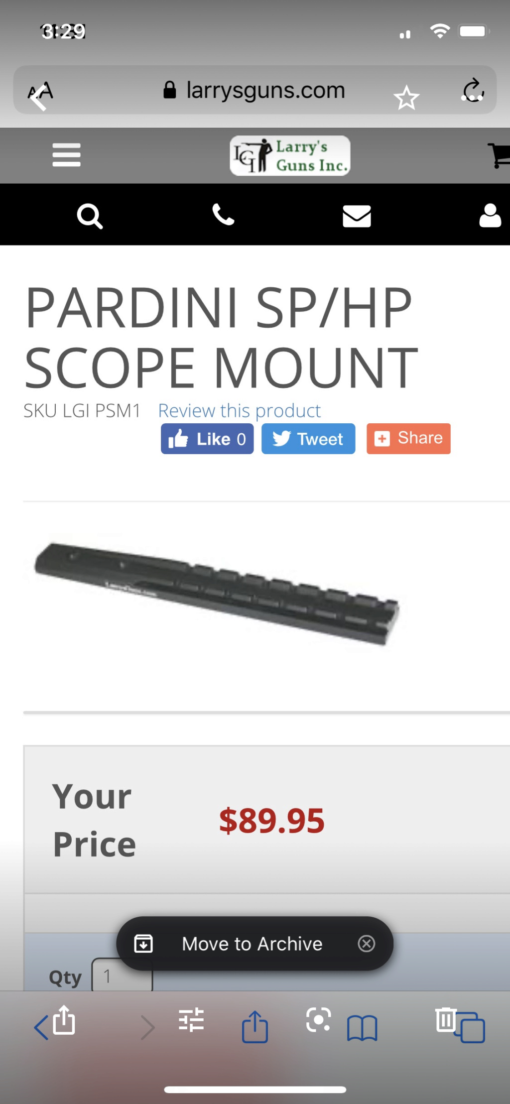 Pardini SP Scope Mount Sledge Cal. 22 LR 062f3a10