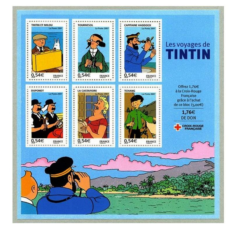 les TIMBRES SUR LE MOTIF DE TINTIN Sans1966