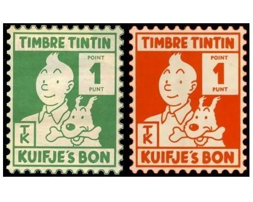 les TIMBRES SUR LE MOTIF DE TINTIN Sans1977