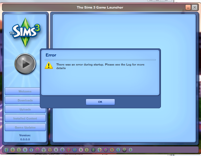 There was an error during start up. Please see the log for more details ERROR Sims 3 Launcher Untitl10