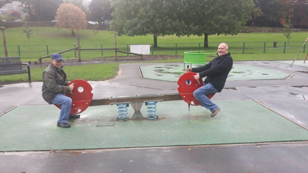 Reg and his mate George at the park. 1108