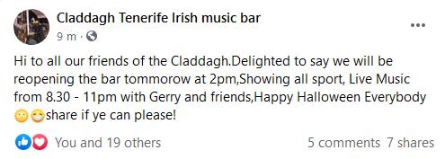 Claddagh Irish Bar on San Telmo reopening tomorrow. Captu231