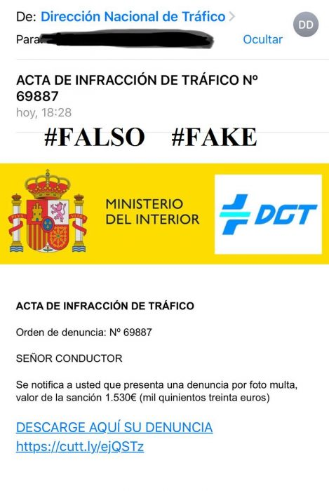 Tráfico warns of fake driving fine circulating by email Fakefi10