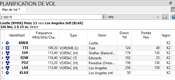 American tour parcours 1 étape1 IFR VFR KMER-KLAX Kmer_k12