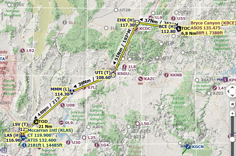 American tour parcours 2 étape 9 IFR VFR KBCE-KLAS Route_10