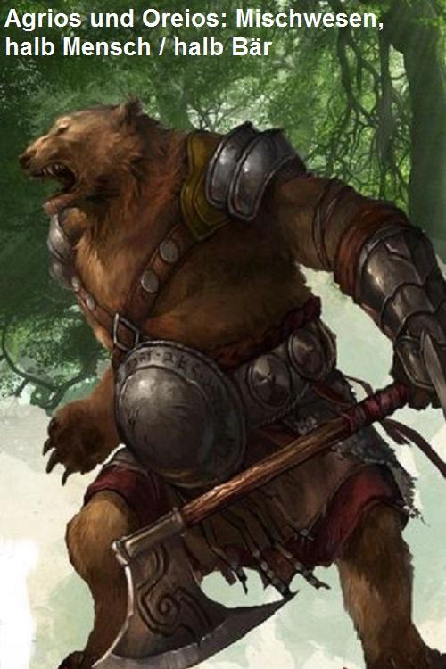 Agrios und Oreios (Mythologie): Mischwesen zwischen Mensch und Bär Agrios12