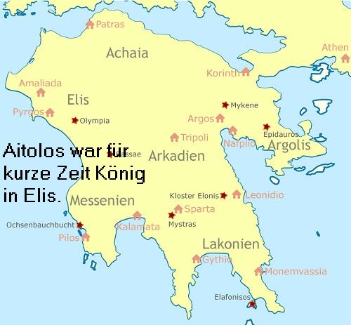 Aitolos (Mythologie): Vierter König von Elis (kurze Regentschaft), Sohn des Endymion Aitolo10