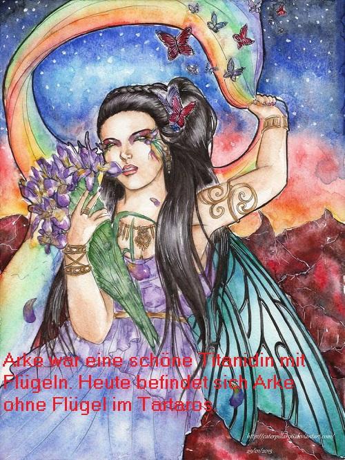 Arke (Mythologie): Titanidin, personifizierte den Nebenregenbogen und fungierte als Botin der Titanen Arke10