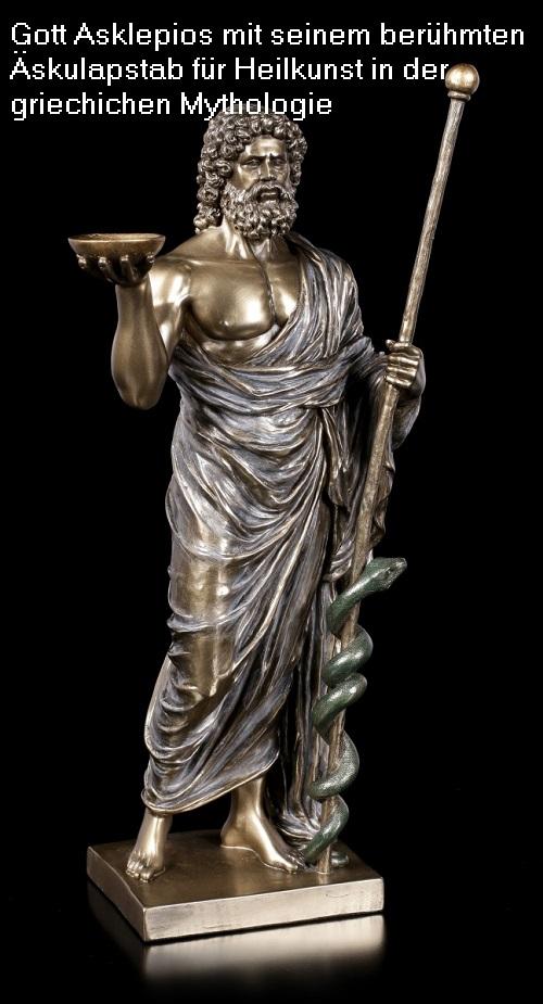 Asklepios: Gott der Heilkunst, Sohn des Apollo, von Zeus mittels Blitz getötet Asklep10