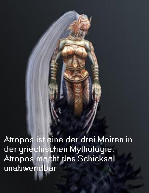 Atropos (Mythologie): Den Moiren angehörige Schicksalsgöttin, die das Schicksal unabwendbar macht Atropo10