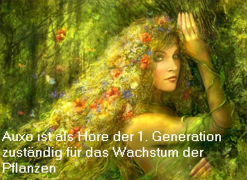 Auxo (Mythologie): Auxo ist eine Hore der 1. Generation und zuständig für Wachstum der Pflanzen Auxo10