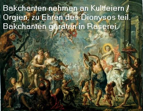 Bakchant / Bakchantin in der griechischen Mythologie, Kult um Dionysos Bakcha10