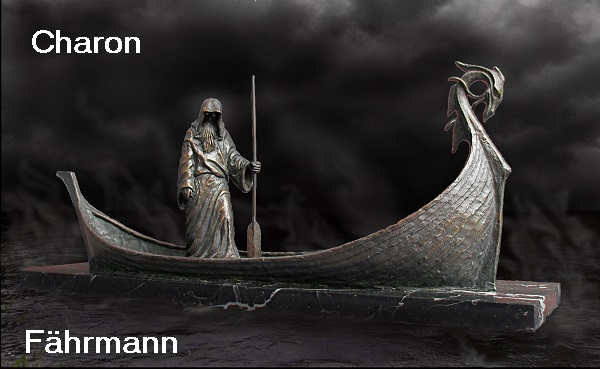 Charon (Mythologie): Sohn des Erebos und der Nyx, Fährmann, der die Toten zum Eingang in den Hades rudert Charon10