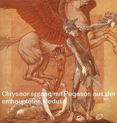 Chrysaor (Mythologie): Krieger mit Goldschwert, der mit Pegasos der enthaupteten Medusa entsprang Chrysa10