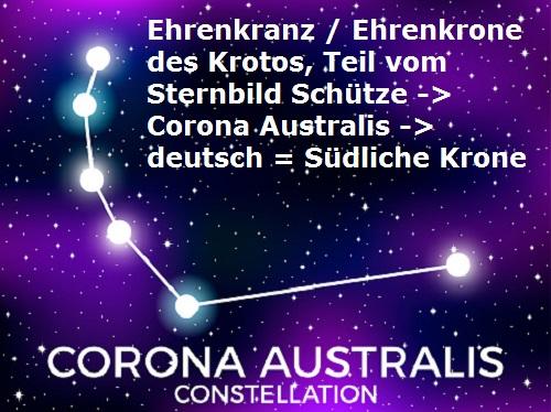 Krotos (Mythologie): Sohn des Pan, heute Corona Australis (Ehrenkranz) Corona16