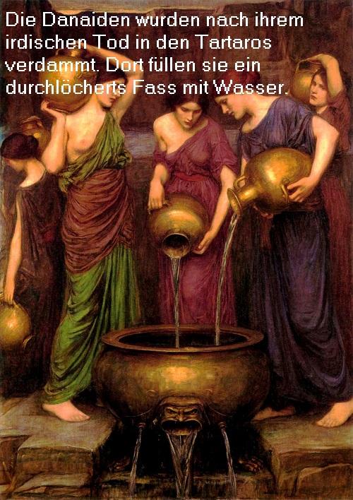 Danaiden (Mythologie): Füllen im Tartaros ein durchlöchertes Fass mit Wasser Danaid10