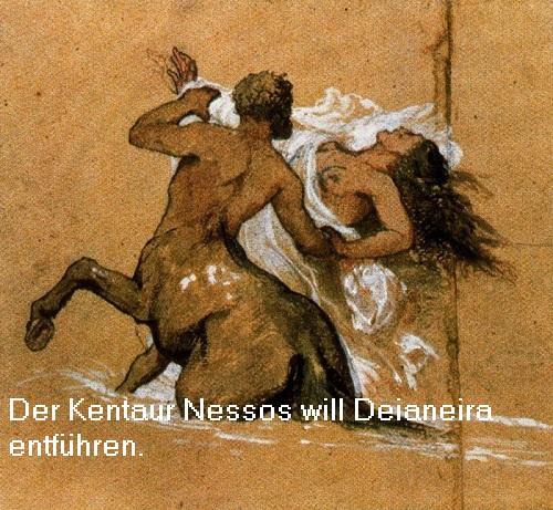 Deianeira (Mythologie): Gattin des Herakles, der Kentaur Nessos wollte Deianeira entführen Deiene10