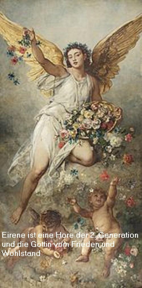 Eirene (auch Irene, Mythologie): Eirene ist eine Hore der 2. Generation und die Göttin vom Frieden und Wohlstand Eirene10