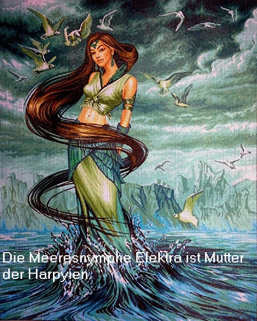 Elektra (Mythologie, auch Electra / Ozomene): Okeanide und Mutter der Harpyien Elektr10