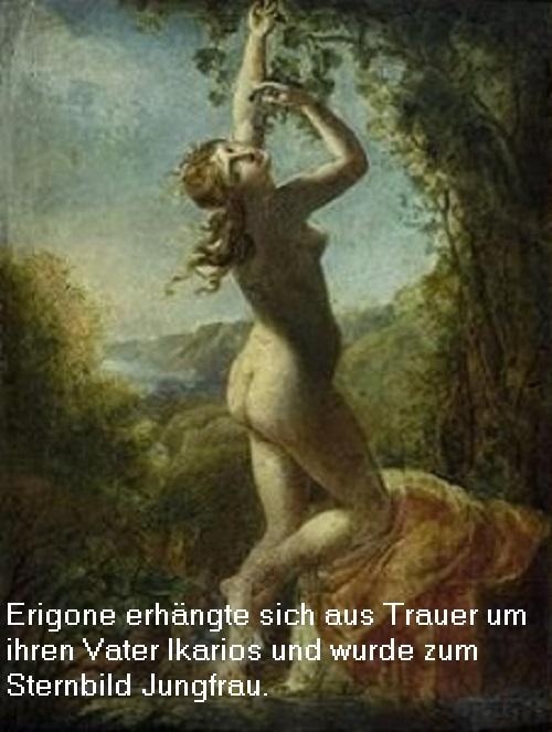 Erigone (Mythologie): Tochter des Ikarios, heute als Sternbild Jungfrau am Firmament Erigon10