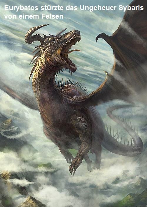 Eurybatos (Mythologie): Stürzte das Ungeheuer Sybaris von einem Felsen Euryba10