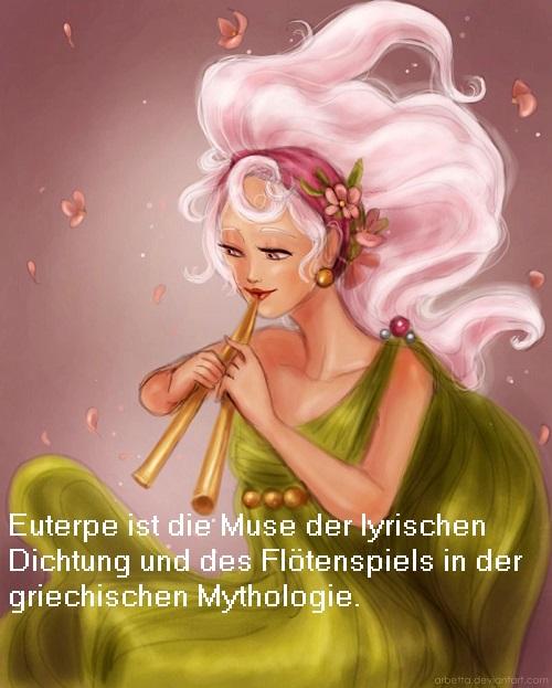 Euterpe (Mythologie, auch Eutelpe): Muse der lyrischen Dichtung und vom Flötenspiel (Doppelflöte, Aulos) Euterp10