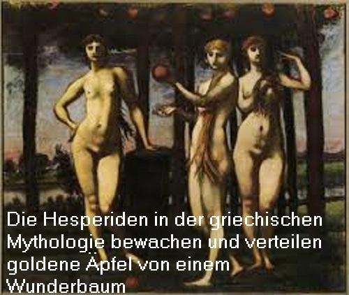 Hesperiden (Mythologie): Nymphen (Halbgöttinnen) mit der Aufgabe, goldene Äpfel in einem wunderschönen Garten zu bewachen Hesper10