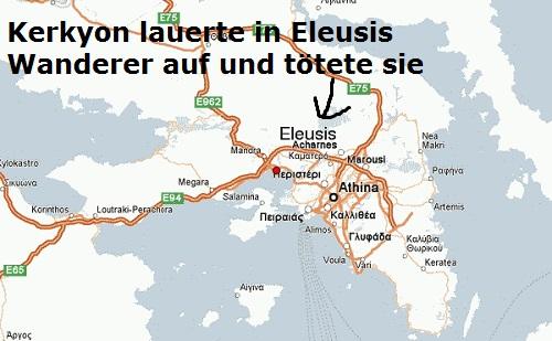 Kerkyon wurde von Theseus getötet, nachdem er Skiron getötet hatte (Mythologie) Kerkyo10