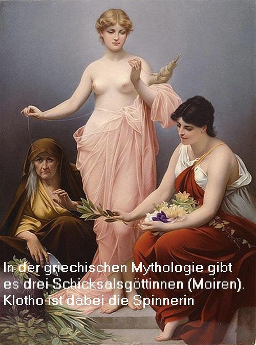 Klotho (Mythologie): Spinnende Schicksalsgöttin (Moire) Klotho10