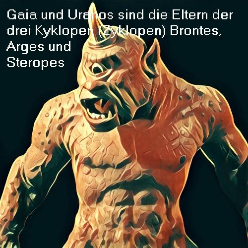 Kyklopen: Arges, Steropes und Brontes sind Söhne von Gaia und Uranos Kyklop10